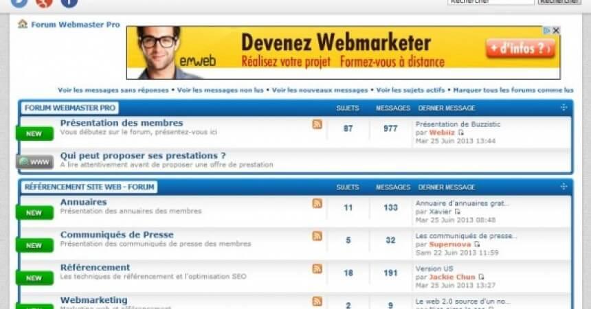 Capture d'écran du forum professionnel de référencement Web Master Pro