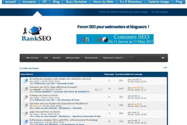 Capture d'écran du forum RankSeo.fr